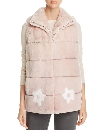 Maximilian Furs - Floral Rabbit Fur Vest - 100% Exclusive