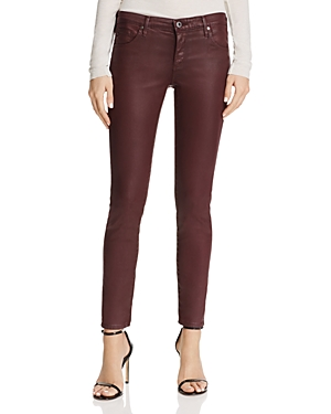 Ag Coated Legging Ankle Jeans in Leatherette Light Deep Currant