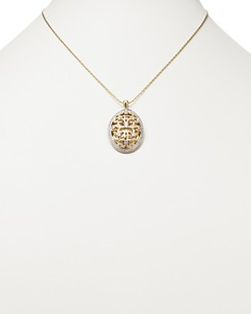 Bloomingdale's - Diamond Antique-Inspired Oval Pendant Necklace in 14K Yellow Gold, 1.0 ct. t.w. - 100% Exclusive