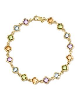 Bloomingdale's - Multi Gemstone Clover Bracelet in 14K Yellow Gold - 100% Exclusive