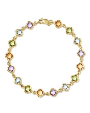 Multi Gemstone Clover Bracelet in 14K Yellow Gold - 100% Exclusive