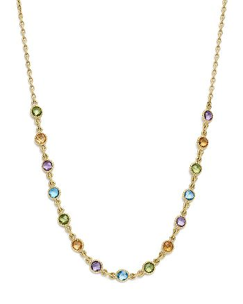 """Bloomingdale's - Multi Gemstone Small Beaded Necklace in 14K Yellow Gold, 16"""" - 100% Exclusive"""