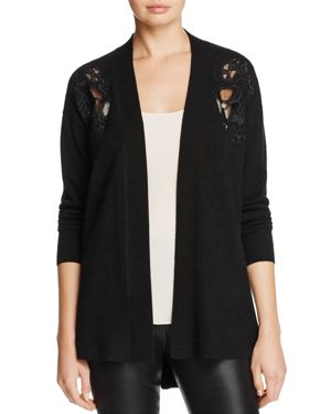 C by Bloomingdale's Cashmere Lace Accent Open Cardigan - 100% Exclusive