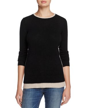 C by Bloomingdale's Cashmere Crewneck Contrast-Trim Sweater -100% Exclusive