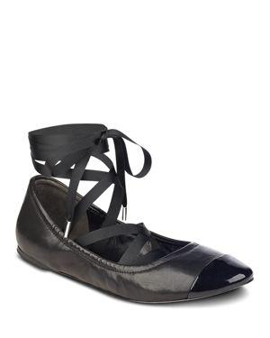 Sigerson Morrison Charlotte Leather Ankle Wrap Ballet Flats 2600514
