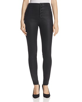 J Brand - Natasha Button Sky High Coated Skinny Jeans in Fearless