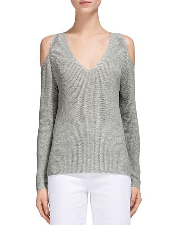 Whistles - V-Neck Cold-Shoulder Sweater