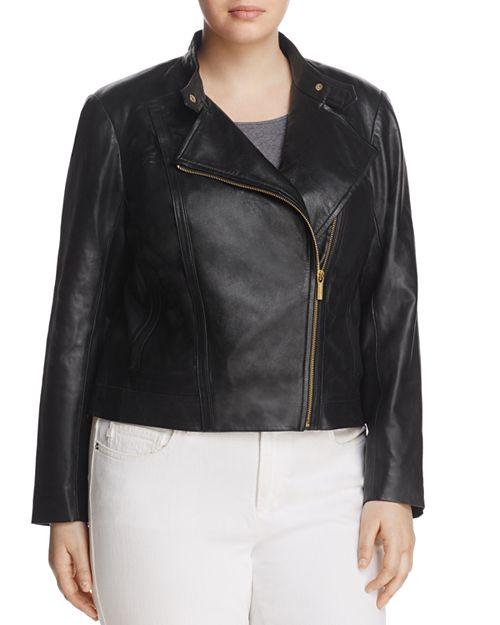 MICHAEL Michael Kors Plus - Leather Moto Jacket