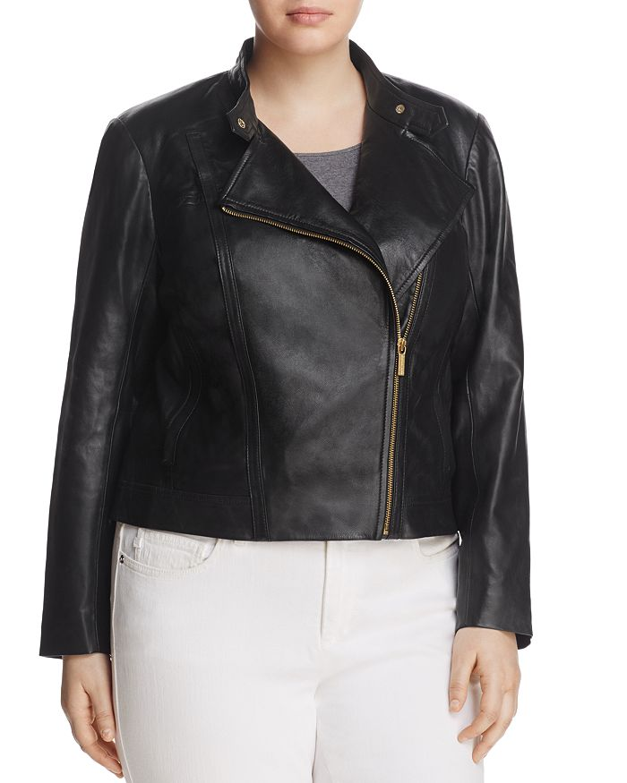 fca68d7e MICHAEL Michael Kors Plus Leather Moto Jacket | Bloomingdale's