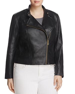Michael Michael Kors Plus Leather Moto Jacket