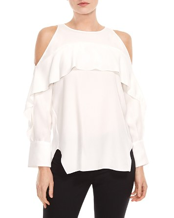 $HALSTON HERITAGE Ruffled Cold-Shoulder Top - Bloomingdale's