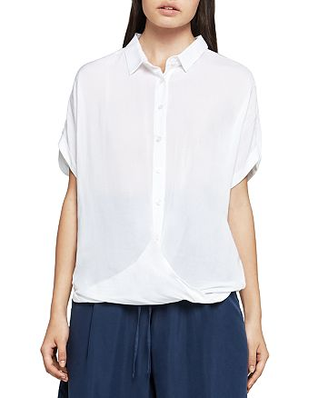 BCBGENERATION - Solid Button-Down Front-Tuck Shirt