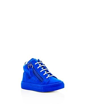 Giuseppe Zanotti Girls' Smuggy Velvet Flocked Mid Top Sneakers - Baby, Walker