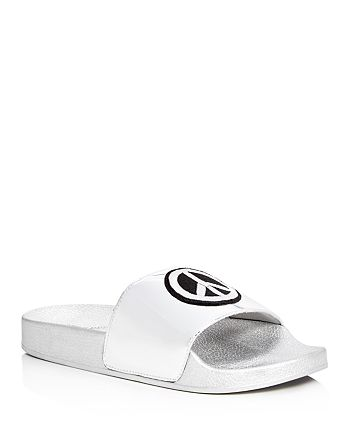 ab89ef8bf5f STEVE MADDEN - Girls  Grltalk Peace Out Metallic Appliqu eacute  Slide  Sandals - Little Kid