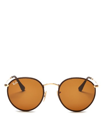 $Ray-Ban Leather-Wrapped Round Sunglasses - Bloomingdale's