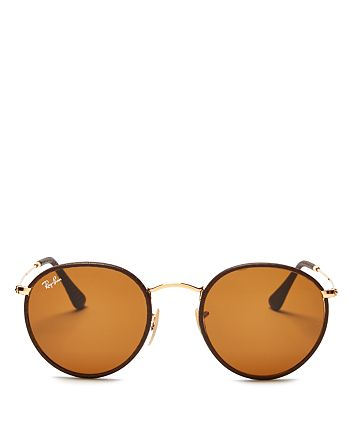 Ray-Ban - Unisex Leather-Wrapped Round Sunglasses