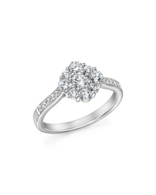 DIAMOND FLOWER CLUSTER RING IN 14K WHITE GOLD, 1.0 CT. T.W. - 100% EXCLUSIVE