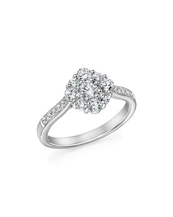 Bloomingdale's - Diamond Flower Cluster Ring in 14K White Gold, 1.0 ct. t.w. - 100% Exclusive