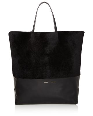 Husky Large Shearling And Leather Tote in Black Fur/Gold