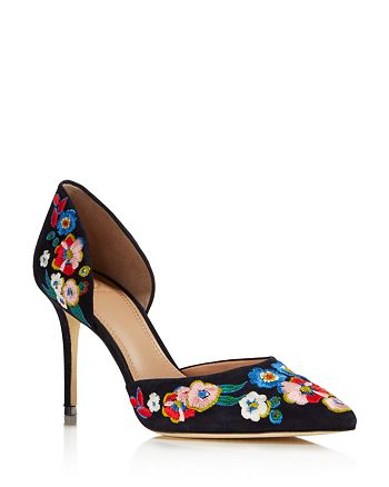 Tory Burch - Women's Rosemont Embroidered d'Orsay High-Heel Pumps