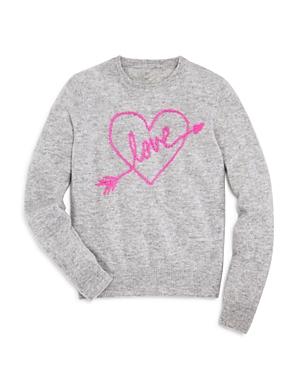 Aqua Girls Cashmere Embroidered Love Sweater Big Kid  100 Exclusive