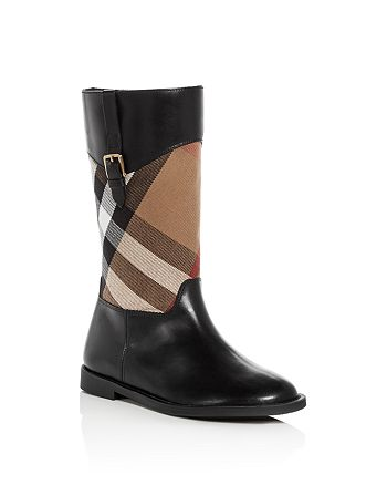 Burberry - Girls' House Check Leather Riding Boots - Toddler, Little Kid