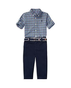 Ralph Lauren Childrenswear Boys' Poplin Plaid Shirt & Pants Set - Baby