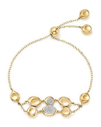 IPPOLITA - 18K Yellow Gold Onda Diamond Double Row Pebble and Chain Bracelet - 100% Exclusive