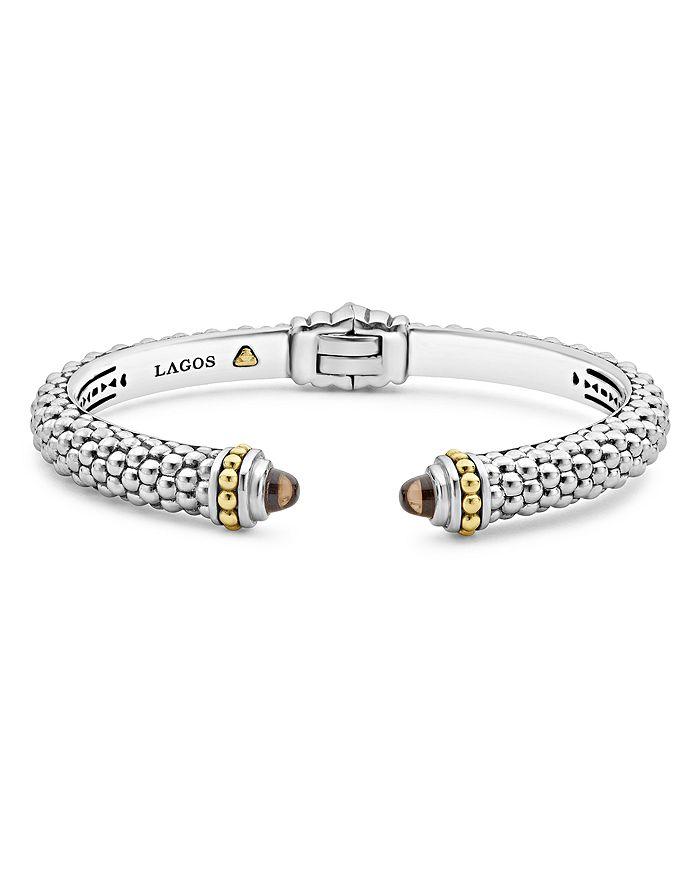 LAGOS - 18K Gold and Sterling Silver Caviar Color Smoky Quartz Cuff Bracelets