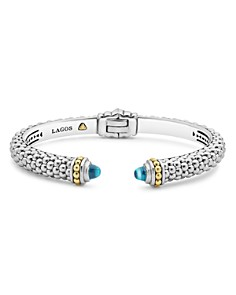 LAGOS 18K Gold and Sterling Silver Caviar Color Blue Topaz Cuff Bracelets - Bloomingdale's_0