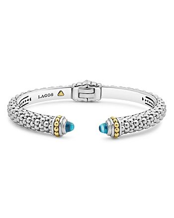 LAGOS - 18K Gold and Sterling Silver Caviar Color Blue Topaz Cuff, 8mm