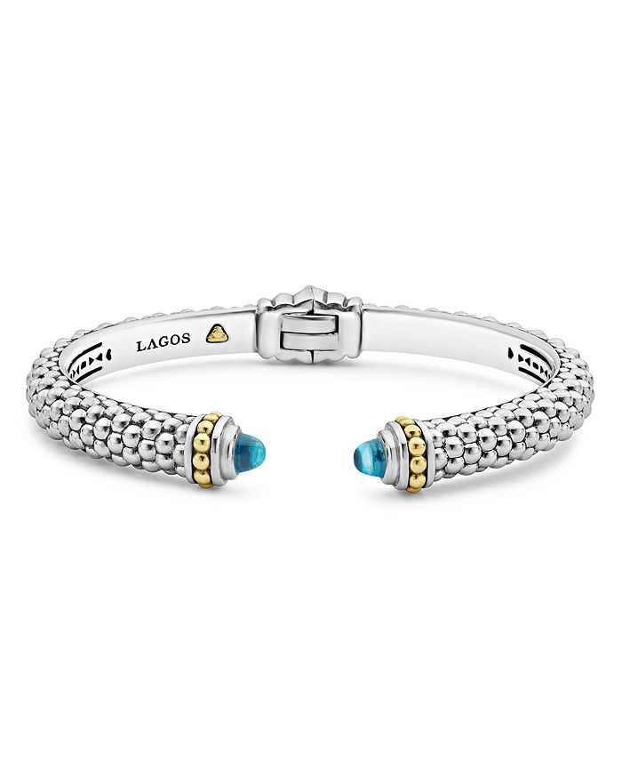 LAGOS 18K Gold and Sterling Silver Caviar Color Blue Topaz