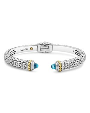 Lagos 18K Gold and Sterling Silver Caviar Color Blue Topaz Cuff, 8mm