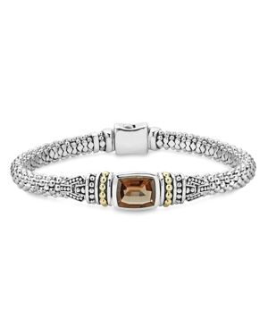 Lagos 18K Gold and Sterling Silver Caviar Color Bracelet with Smoky Quartz
