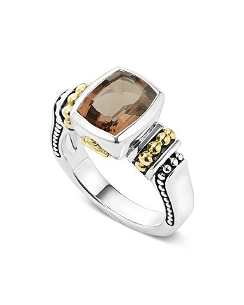 LAGOS - 18K Gold and Sterling Silver Caviar Color Small Smoky Quartz Ring