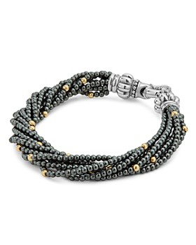 LAGOS - 18K Gold and Sterling Silver Caviar Icon Hematite Beaded Multi Strand Bracelet