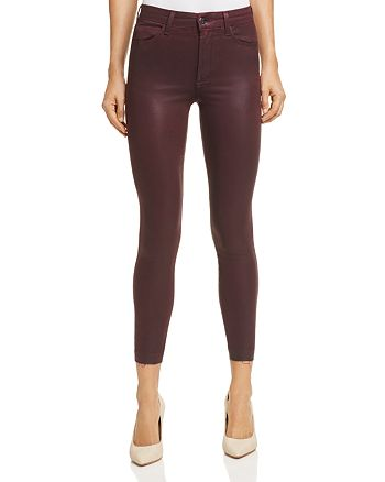 Joe's Jeans - The Charlie High-Rise Coated Ankle Skinny Jeans in Merlot