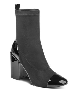 MARC FISHER LTD. Tache Suede & Patent Leather Booties in Black