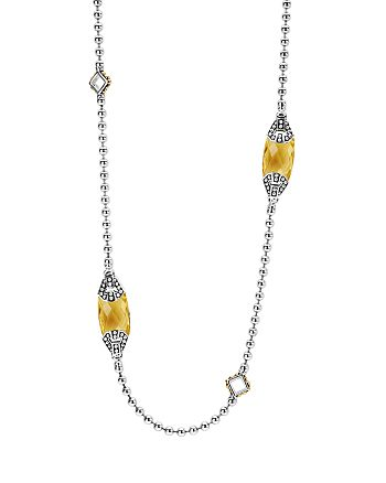LAGOS - 18K Gold and Sterling Silver Caviar Color Station Necklace with Citrine, 34""