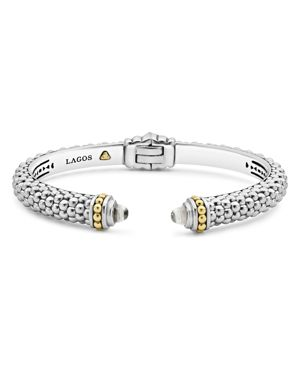 Lagos 18K Gold and Sterling Silver Caviar Color White Topaz Cuff, 8mm