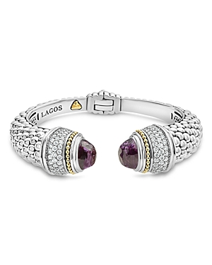 Lagos 18K Gold and Sterling Silver Caviar Color Amethyst and Diamond Cuff, 14mm