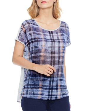 Vince Camuto Mixed Media Plaid-Front Tee