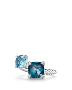 David Yurman - Châtelaine Bypass Ring with Hampton Blue Topaz, Blue Topaz and Diamonds