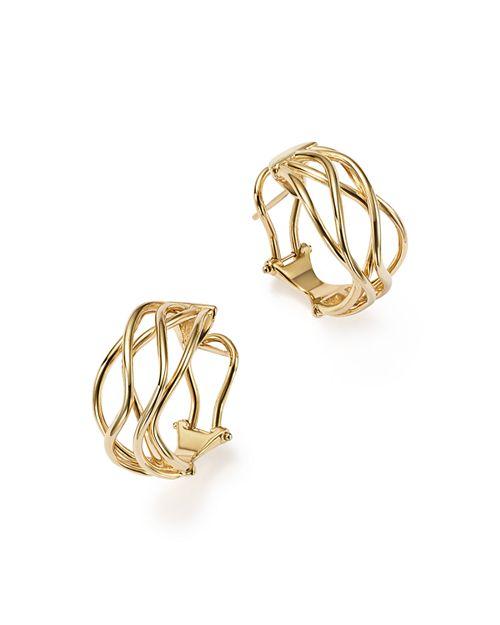 Bloomingdale's - 14K Yellow Gold Wave Wire Hoop Earrings - 100% Exclusive
