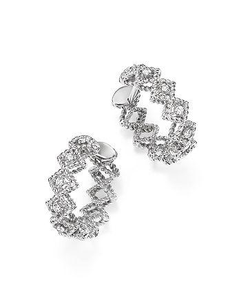 Roberto Coin - 18K White Gold Gold New Barocco Diamond Hoop Earrings