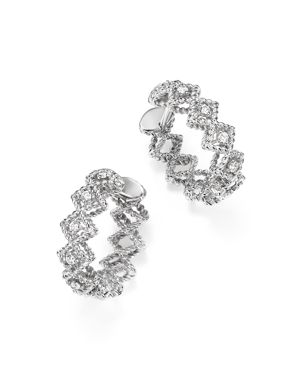 Roberto Coin 18K White Gold Gold New Barocco Diamond Hoop Earrings
