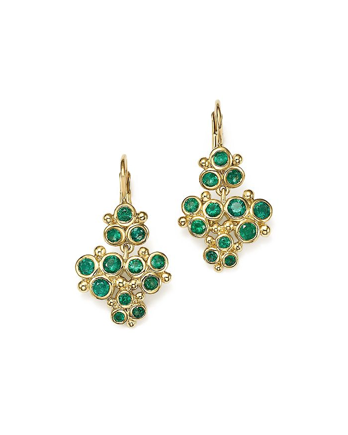 Temple St. Clair - 18K Yellow Gold Emerald Trio Cluster Earrings