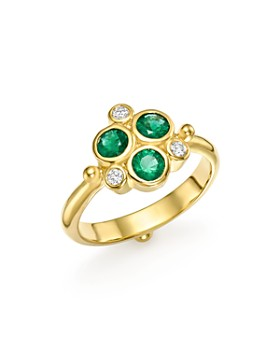 Temple St. Clair - 18K Yellow Gold Emerald Trio and Diamond Ring