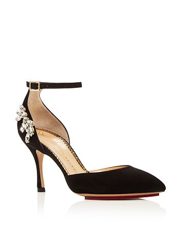 Charlotte Olympia - Women's Adele Embellished Suede Ankle Strap Pumps
