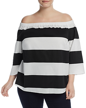 Vince Camuto Plus Camden Stripe Off-The-Shoulder Top
